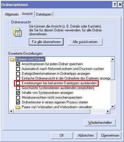 Dateiendungen wieder anzeigen