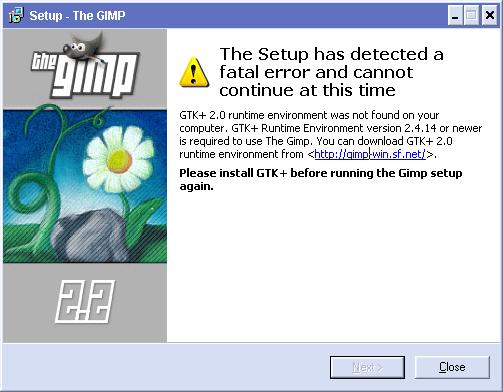 GIMP Fehlermeldung