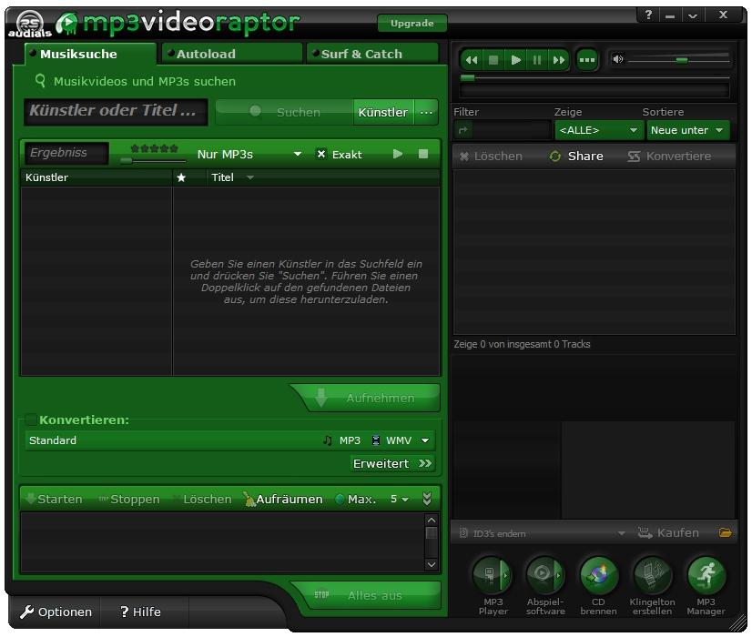 mp3videoraptor oberfläche