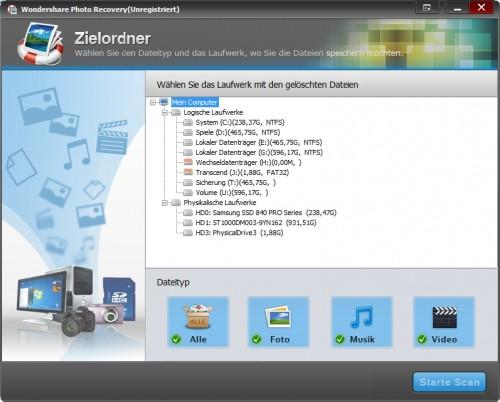 wondershare-photo-recovery-startbildschirm