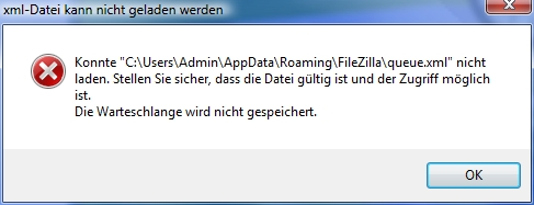 FileZilla Fehlermeldung