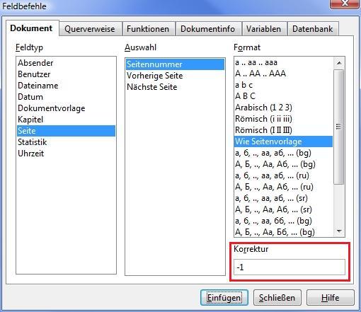 OpenOffice: Nummerierung und erste Seite