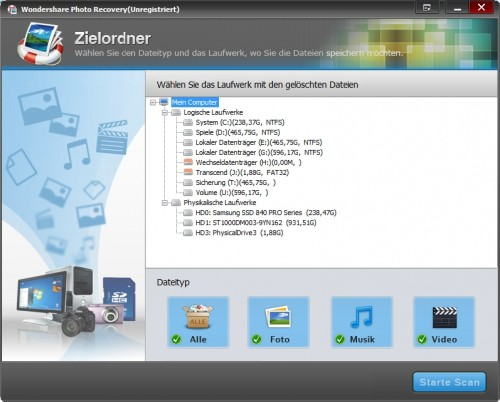wondershare-photo-recovery-startbildschirm