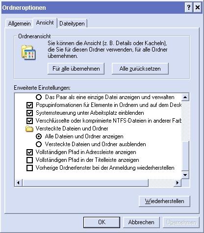 Versteckte Dateien und Ordner anzeigen