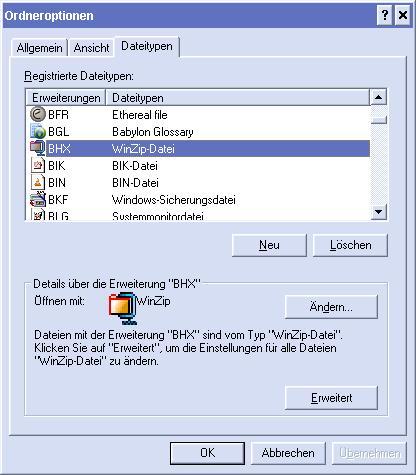 Datei Typ Zuordnung